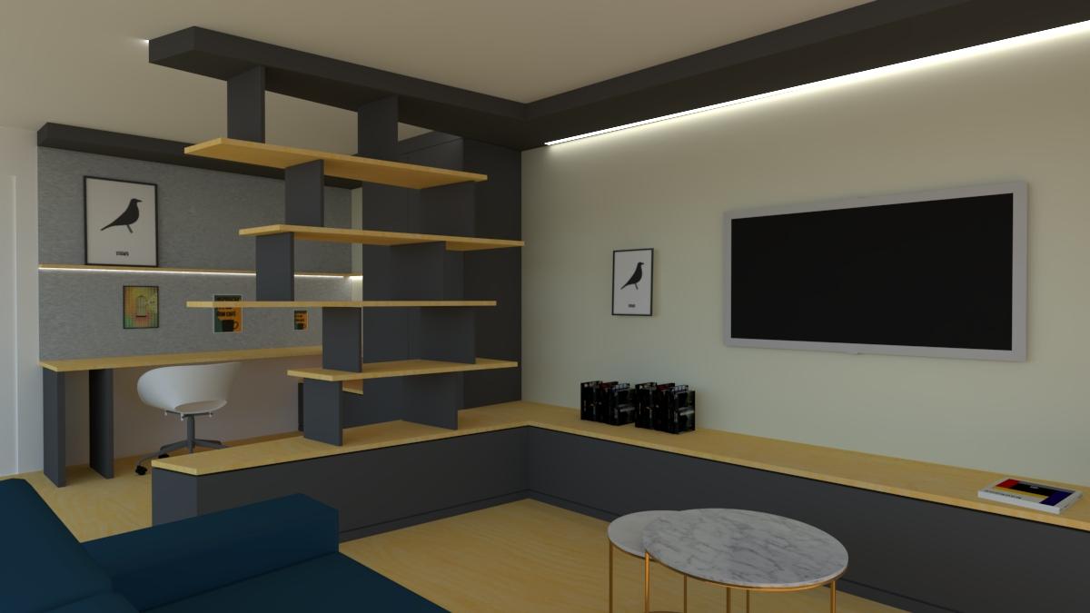 axo architecture | aménagement d'un bureau et d'une pièce tv