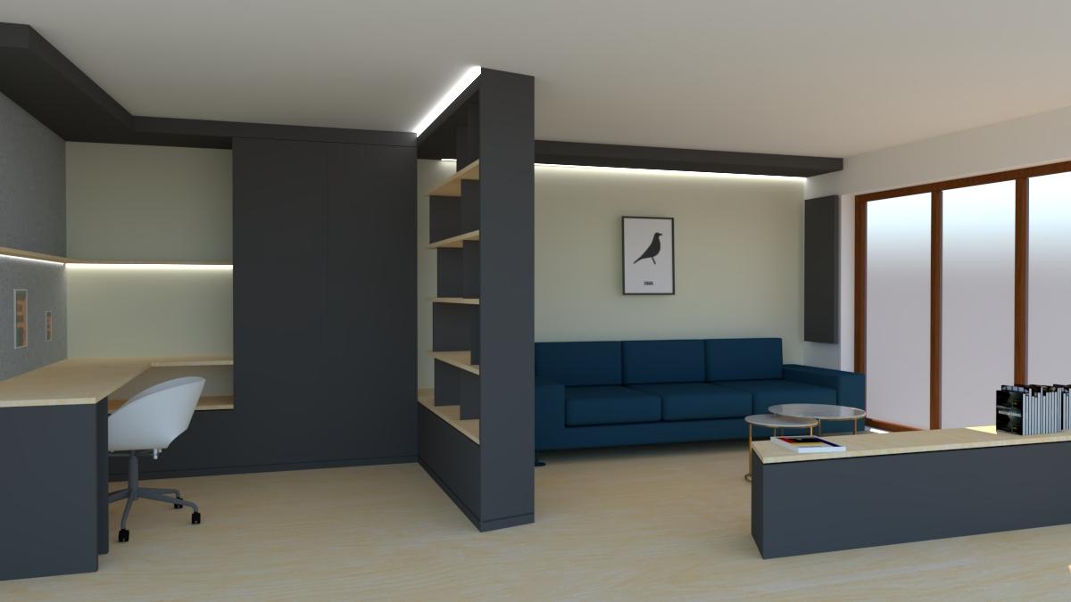 AxO architecture | Aménagement d\'un bureau et d\'une pièce TV